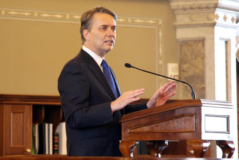 Kansas Gov. Jeff Colyer delivers his State of the State speech in the Kansas House on Wednesday. He promised to find a long-term solution to the state's school funding problems, but was vague about what he'd agree to with lawmakers.