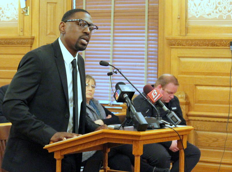 Lamonte McIntyre talks to a Kansas Senate committee about a bill that would promise money to people who are kept in prison on convictions that are later overturned. He was exonerated after 23 years in prison, but state law offers no payment.