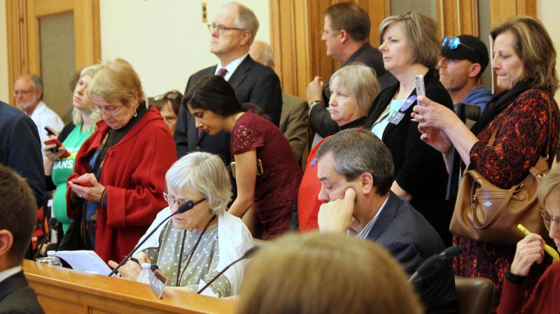 Supporters of Medicaid expansion packed a Kansas Senate hearing room on Wednesday.