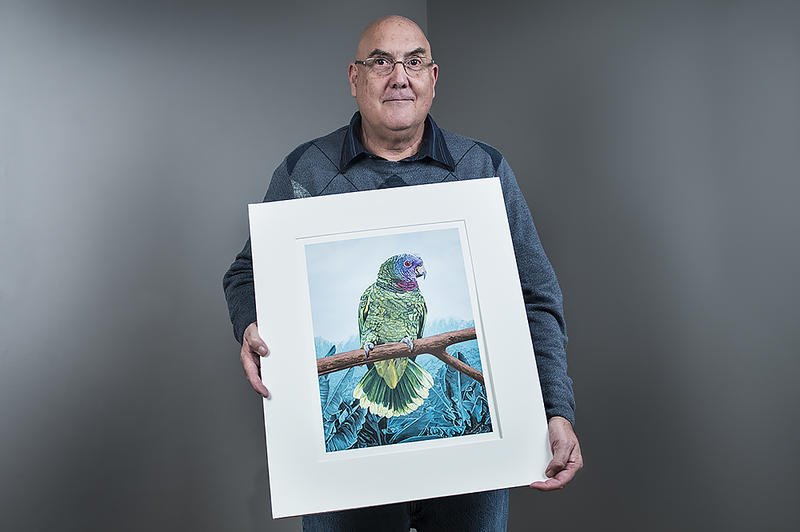 John Mallery poses with a recent acquisition: 'Red-necked Amazon' by Dallas John. A serious bird watcher, Mallery is often drawn to art with avian themes.