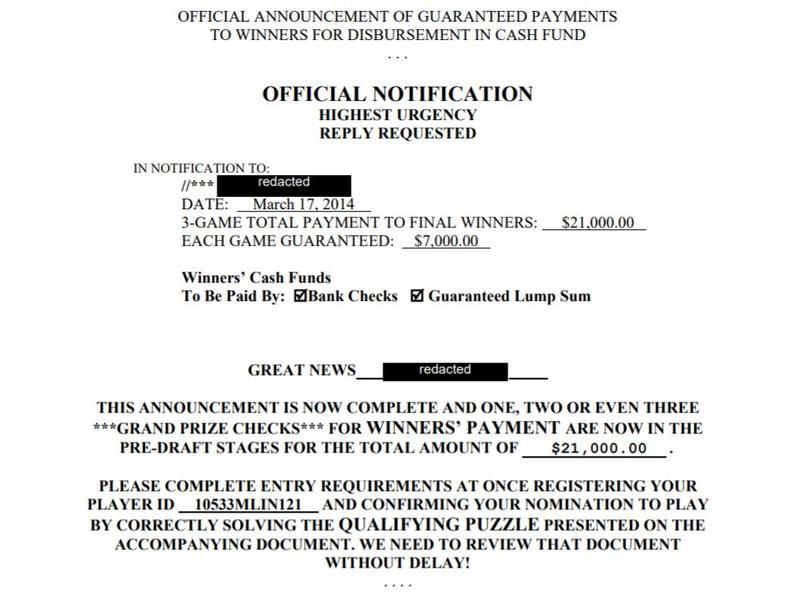 An example of a game of skill mailer sent to a consumer in New York, according to the lawsuit.