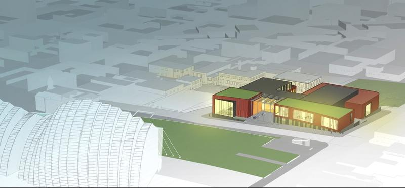 A rendering of an aerial view of the proposed downtown campus of the UMKC Conservatory of Music and Dance.