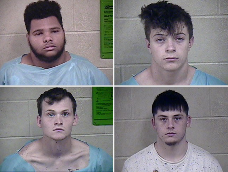 Clockwise from upper left: Landon A. Mikle (charges against him were later dismissed), Tanner J. Nicholson, Tynan B. Mullen, Scott W. Ryan.