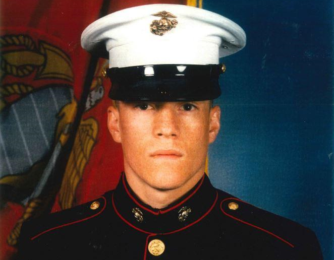 Corporal William Draughon in his Marine Corps Blue Dress uniform.
