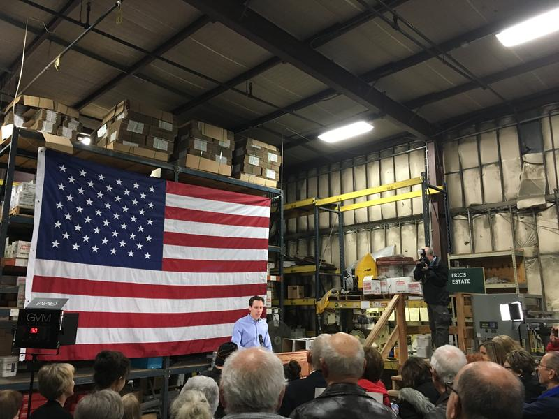 Josh Hawley appeared at Dynamic Fastener in Raytown on Tuesday to campaign for the U.S. Senate.