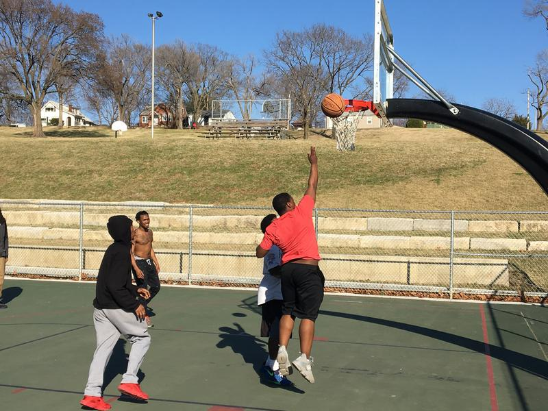 Teens play a pickup basketball game this week at Oak Park (aka Pat Clarke Park), which is slated for upgrades.