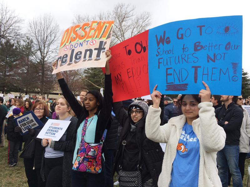 Blue Valley North students, left to right, Amoge Wamkpah, Mahnoor Chema, and Merall Janjua showed their support for gun control at Saturday's rally.