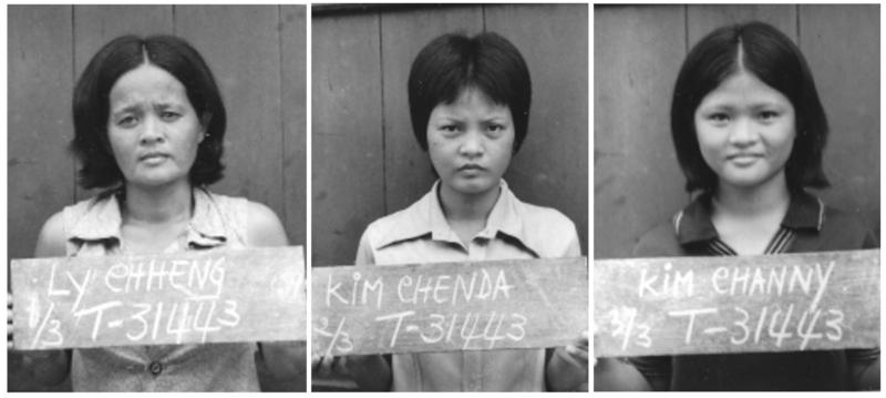 Channy Chhi Laux (far right) with her mother and sister at the end of their ordeal in Cambodia.