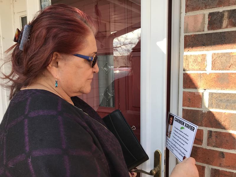 Smithville, Missouri school board candidate Carmen Xavier is walking door-to-door meeting voters.