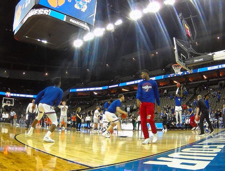 KU warms up against Duke at the CenturyLink Center in Omaha. KU beat Duke to get into the Final Four.