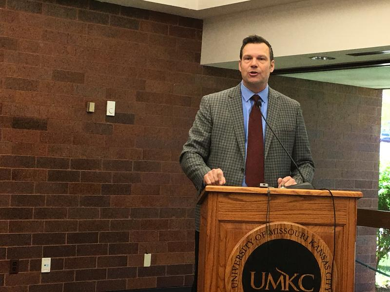 Kansas Secretary of State Kris Kobach speaking last year at UMKC School of Law, where he once taught constitutional law.