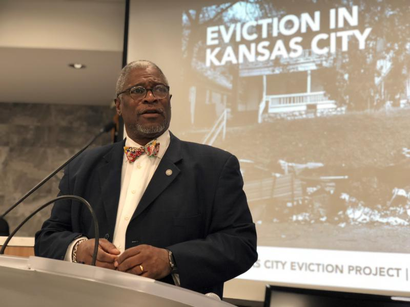 Kansas City Mayor Sly James convened a presentation Thursday on the city's high eviction rate and its connection to children's academic performance.