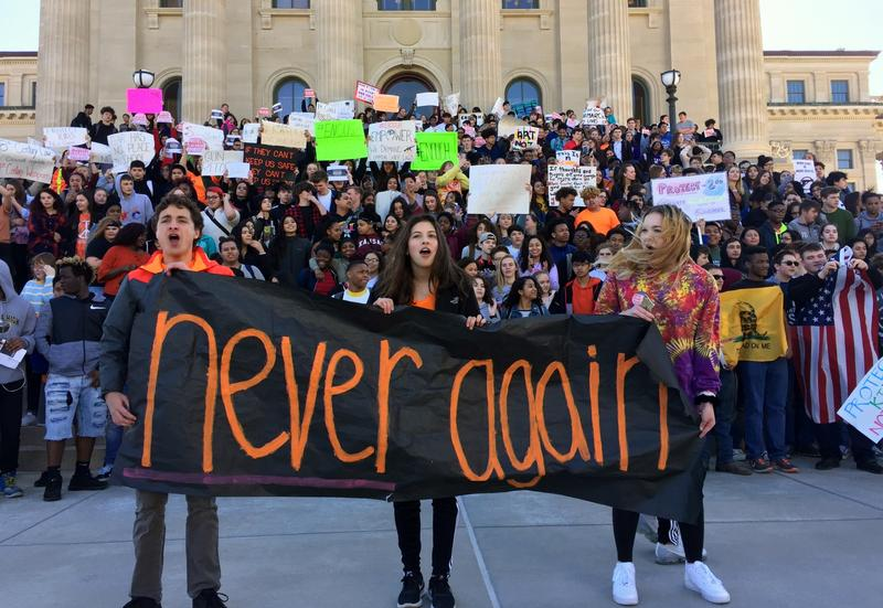Students from Topeka High School walked from school to the Kansas Capitol on Tuesday. Similar demonstrations took place in various parts of the state.