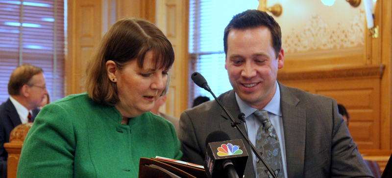 Consultants Lori Taylor and Jason Willis answer questions from legislators Monday about their report on school funding.