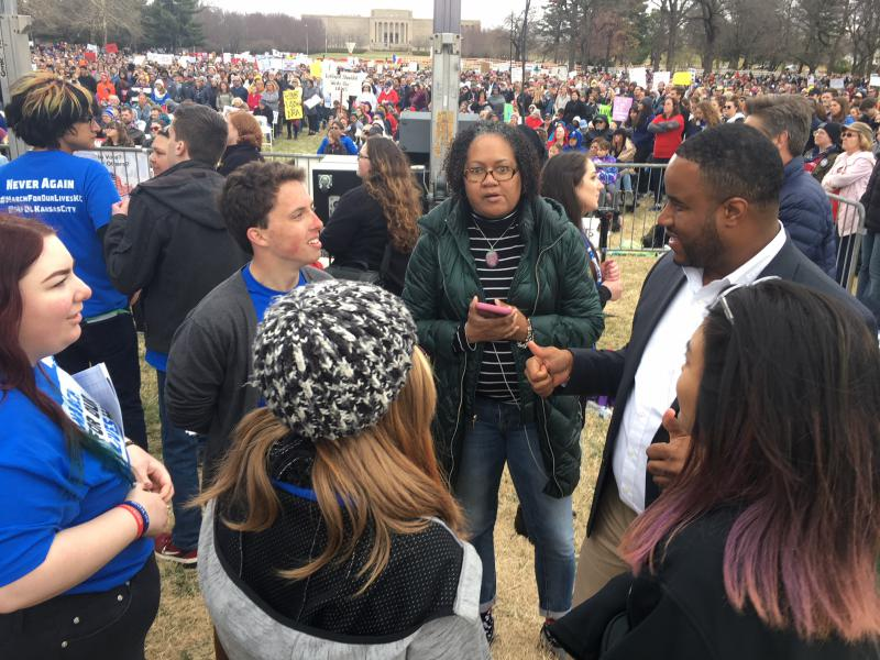 Missouri Reps. Barbara Ann Washington (center, facing camera) and DaRon McGee (right), spoke with student leaders of the March for Our Lives rally. The Kansas City Democrats weren't part of the speaking lineup, which was mostly high school students.