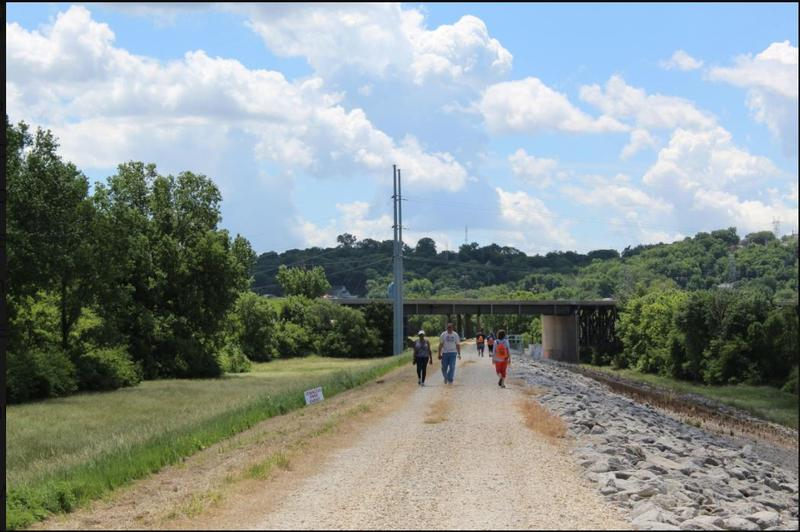 Pedestrians walking the mile-and-a-half section of levee in Wyandotte County that opened to the public a couple of years ago.