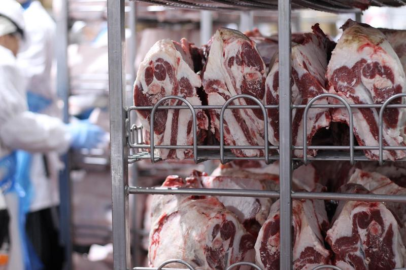 Cuts of halal lamb shoulder sit on a shelf at the Superior Farms plant in Denver, waiting to be sold to small specialty stores that cater to Muslim consumers.