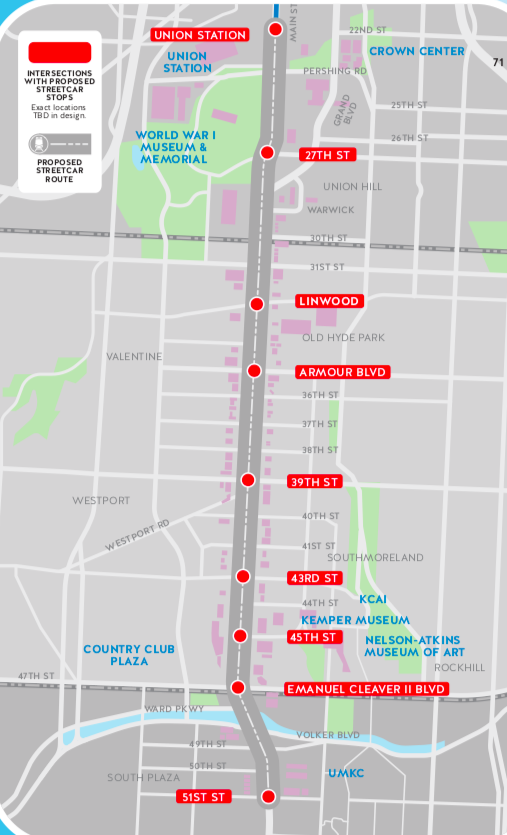 eight stops proposed for the kansas city streetcar expansion closely follow the current max bus rapid transit stops