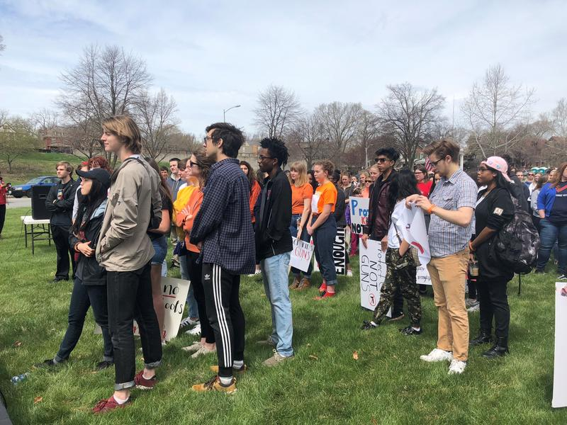 Local high school students gathered at Hyde Park on Friday as part of a nationwide school walkout to protest gun violence.