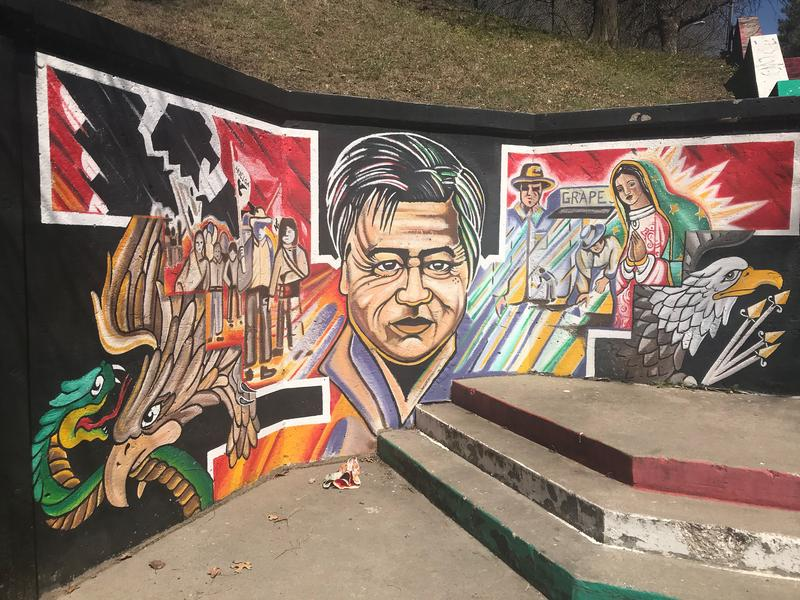 A mural of the civil rights leader covers a wall across the street from the Guadalupe Center on Avenida Cesar Chavez.