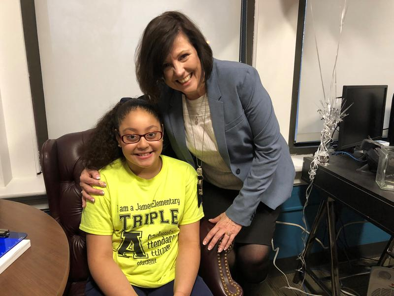 James Elementary fourth-grader Alayna Lopez, pictured here with Principal Mary Bachkora, has benefited from being in the same school since first grade. Other Kansas City Public Schools are less stable than James, as low-income students must move often.