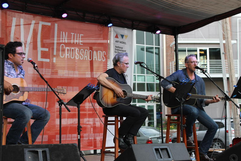 SongwritingWith:Soldiers performs at Mid-America Arts Alliance in June 2014. From left: Jay Clementi, Radney Foster and Darden Smith.