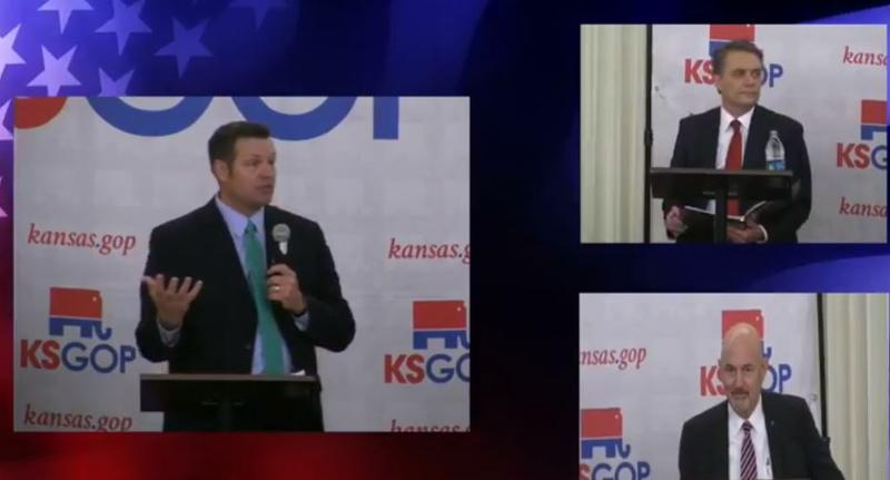 Kansas Secretary of State Kris Kobach, left, faced off in a Republican governor candidate's forum with Gov. Jeff Colyer, above, and Ken Selzer, the state insurance commissioner.