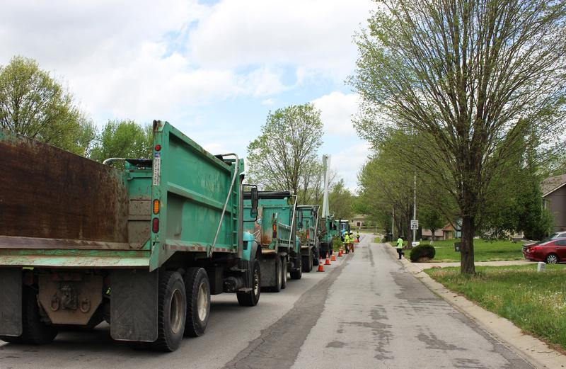 Kansas City Parks and Recreation crews trimmed trees in a neighborhood near Ingels Elementary in South Kansas City.