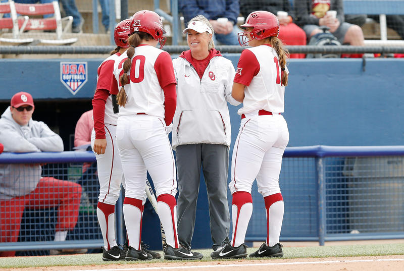 Oklahoma's Patty Gasso (center) says players on women's teams need women coaches as role models.