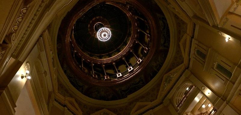 The Kansas state capitol dome after dark.