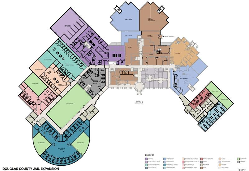 A proposed reconfiguration and expansion to the Douglas County Jail, shown here in bold black, would give the county space to house 179 more inmates.