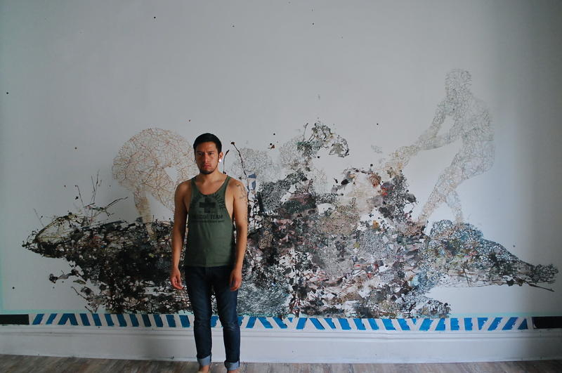 Artist Fidencio Fifield-Perez with his work 'Surge,' as it appeared in a previous show.