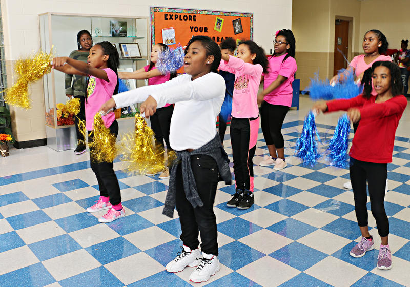 Students at Phillips Elementary in the Kansas City Public Schools perform a cheer. The school was awarded $600,000 from education nonprofit SchoolSmartKC.