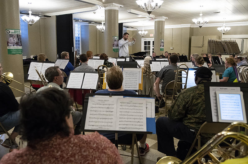 Kansas City's Mid America Freedom Band, gathers to rehearse in the basement of Central Presbyterian Church in Midtown.