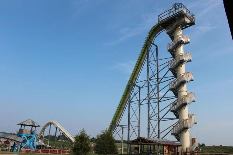 The 17-story water slide at the Schlitterbahn waterpark remains standing while the investigation continues.