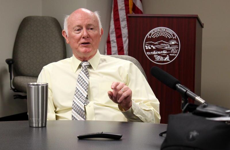Kansas Revenue Secretary Sam Williams speaking to reporters.