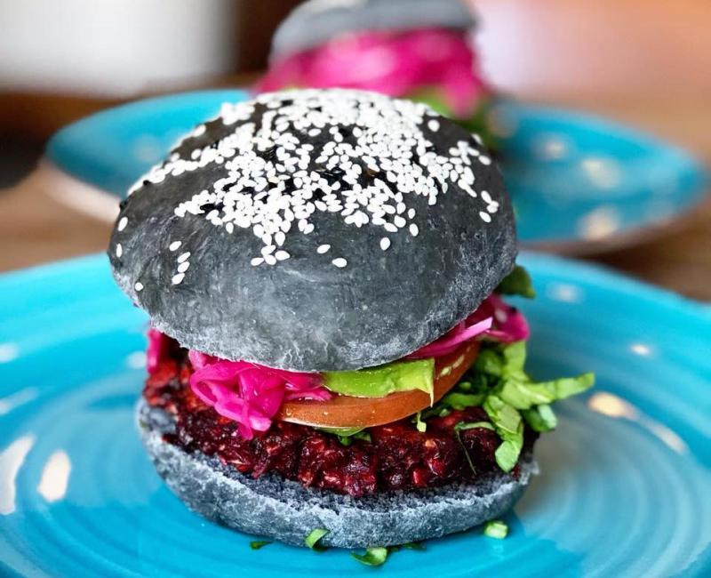 The beet burger at Pirate's Bone.