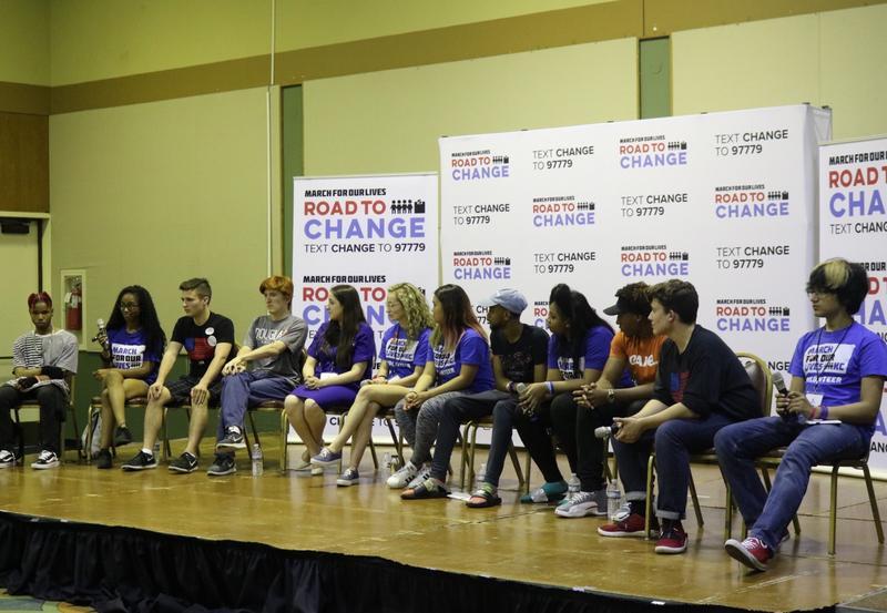 Ten student activists spoke on a panel about gun violence Monday night.