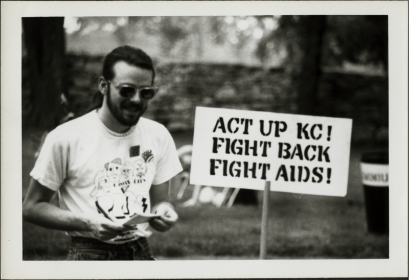 This scene from 'The Ordinance Project' shows a volunteer with the Kansas City chapter of ACT UP at a GALA picnic in 1989.