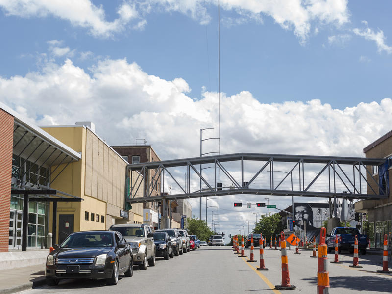 A bridge spanning Troost Avenue was installed June 23 by JE Dunn Construction. The bridge, an addition that provides children safe passage to the new building, will be open for use in August.