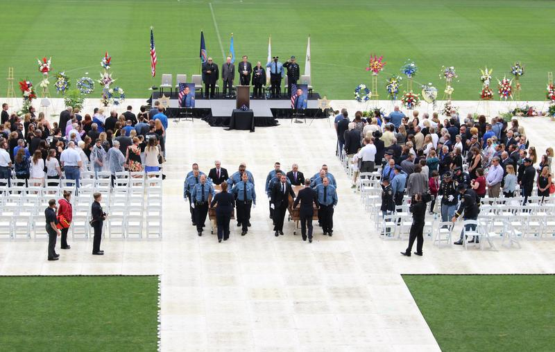Two sheriff's deputies who died after a shooting last week were honored in Kansas City, Kansas, Thursday morning at Children's Mercy Park.