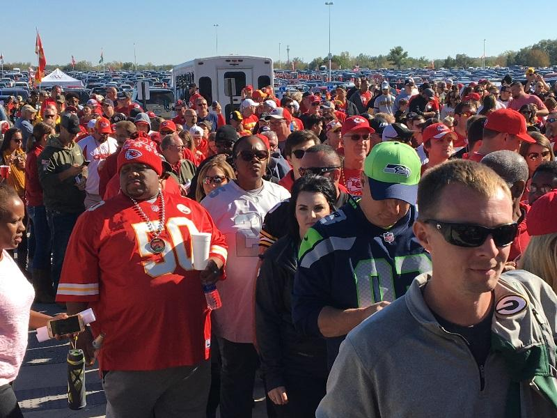 Kansas City Chiefs fans queue up before a game during the 2017 NFL season.