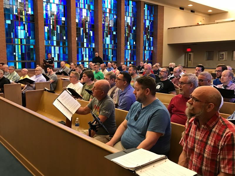 "Members of the Heartland Men's Chorus rehearse ""Indivisible: Songs of Resistance and Remembrance"" on a recent Saturday morning."
