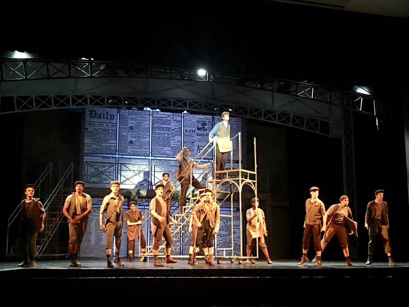 """The cast of """"Newsies"""" rehearses at The White Theatre a few days before opening night."""