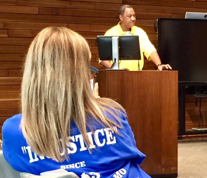 "Curtis Taylor, Ryan Stokes' uncle, testifies before the Kansas City Board of Police Commissioners on Tuesday, telling them the family's patience ""has worn thin."""