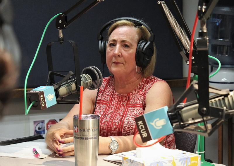 Sherry Duffett, leader of Citizens For A Better Clay County, sits in front of a microphone in the KCUR studio.
