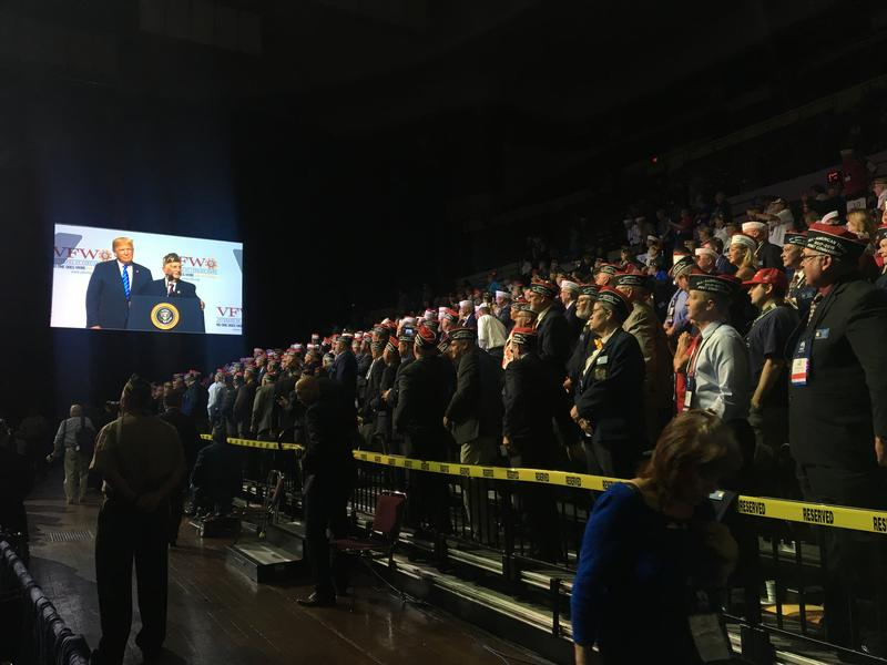The scene inside Municipal Auditorium in Kansas City as President Donald Trump speaks Tuesday.