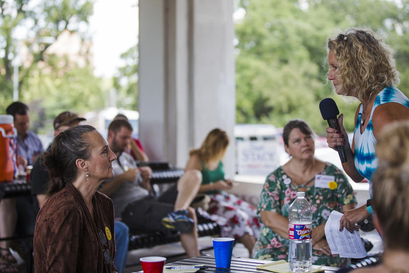 Penny Monetti (right) spoke on behalf of her husband, U.S. Senate candidate Tony Monetti, at the Jackson County Republican Party's ice cream social July 15 in Kansas City. She touted former vice presidential candidate Sarah Palin's endorsement of Monetti.