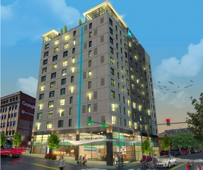 A render of the 13-story Hyatt House hotel proposed for Ninth Street and Broadway.