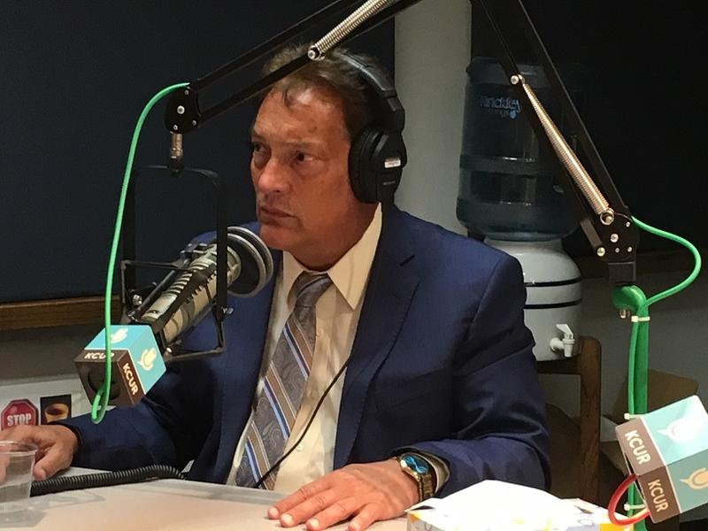 Judge Garry Helm seated before a microphone in the KCUR studio.